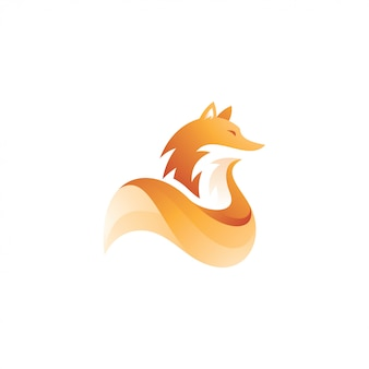 Modern gradient fox tail animal mascot logo