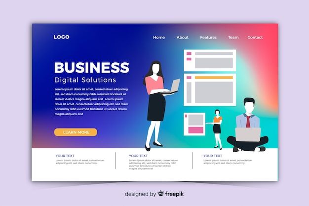 Modern gradient landing page with illustrations template