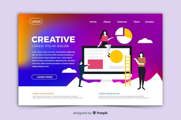 Modern gradient landing page with illustrations