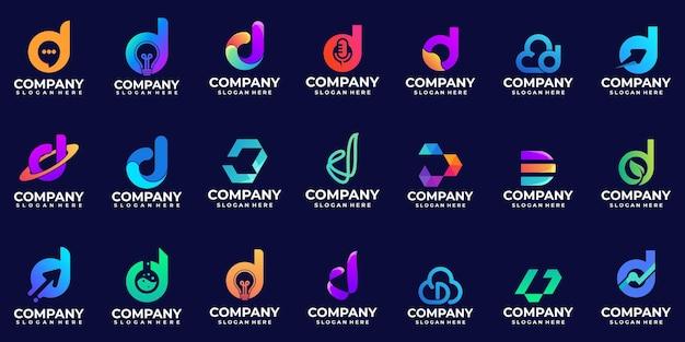 현대 그라데이션 로고 문자 d 로고 디자인 영감