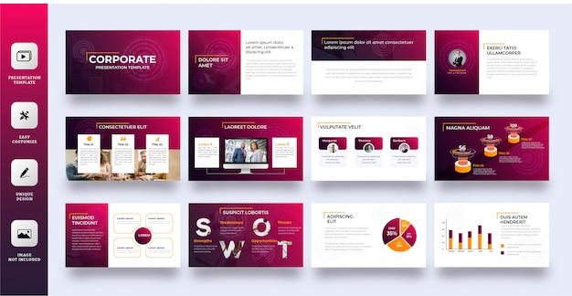Modern gradient multipurpose presentation template 12 pages