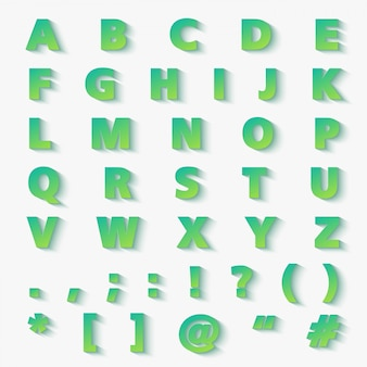 현대 그라데이션 종이 잘라 알파벳 문자 집합입니다.