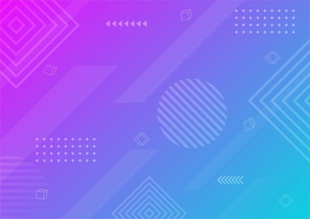 モダンなグラデーションの紫と青の抽象的な幾何学的形状。メンフィススタイルの背景。