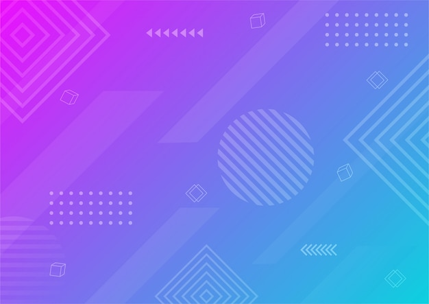Modern gradient purple and blue abstract geometric shape. memphis style background.