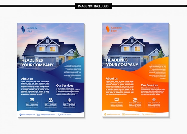 Modern gradient real estate flyer template design
