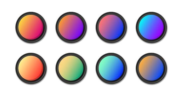 Современные градиентные круглые кнопки для веб-сайта и пользовательского интерфейса. набор веб-кнопок. вектор