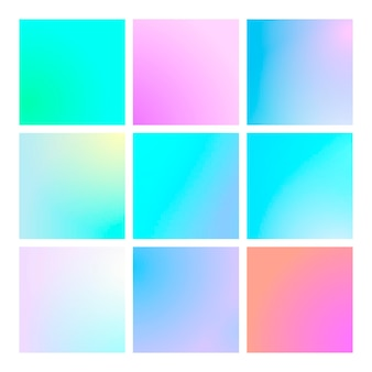 Modern gradient set with square abstract backgrounds. colorful fluid cover for poster, banner, flyer and presentation. trendy soft color. template with modern gradient set for screens and mobile app