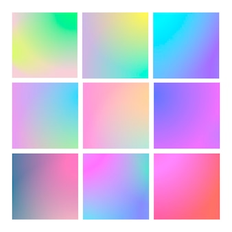 Modern gradient set with square abstract backgrounds. colorful fluid covers for calendar, brochure, invitation, cards. trendy soft color. template with modern gradient set for screens and mobile app
