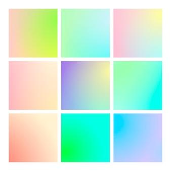 正方形の抽象的な背景を持つモダンなグラデーション セット。
