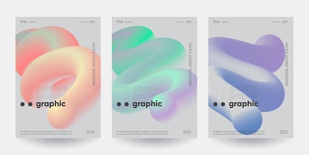 현대 그라디언트 모양 구성. 추상 포스터 세트.
