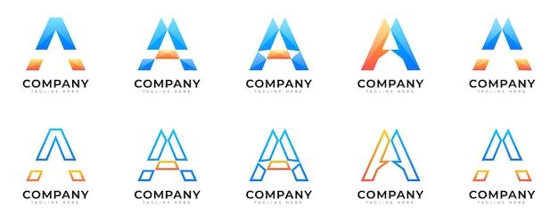 현대적인 그라데이션 스타일의 초기 문자 로고 컬렉션