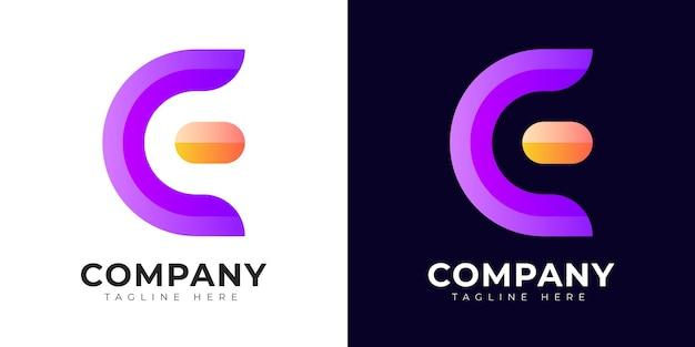 Шаблон дизайна логотипа буквица e и ce в современном градиентном стиле