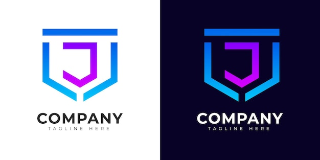 Modern gradient style initial letter j logo design template