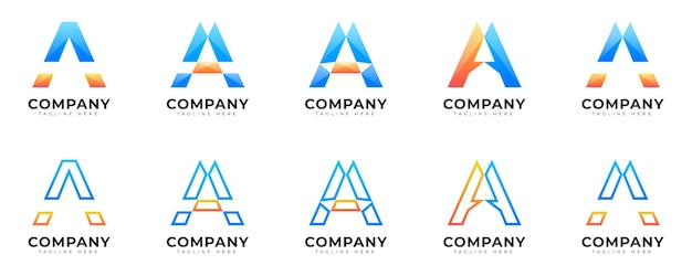 Modern gradient style initial letter a logo collection