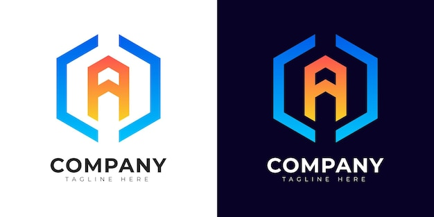 Modern gradient style initial letter a logo design template