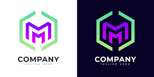 Modern gradient style initial letter m logo design template
