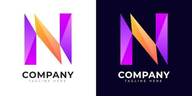 현대 그라데이션 스타일 초기 문자 n 로고 디자인 서식 파일
