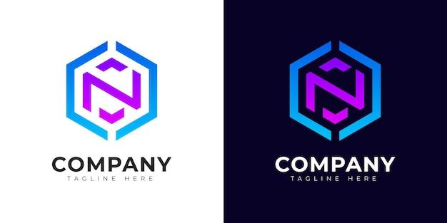 Modern gradient style initial letter n logo design template