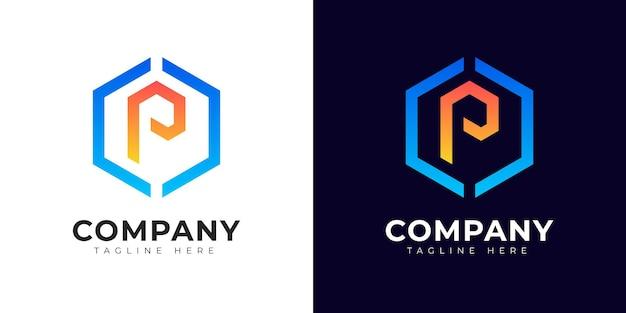 Шаблон дизайна логотипа буквица p в современном стиле градиента
