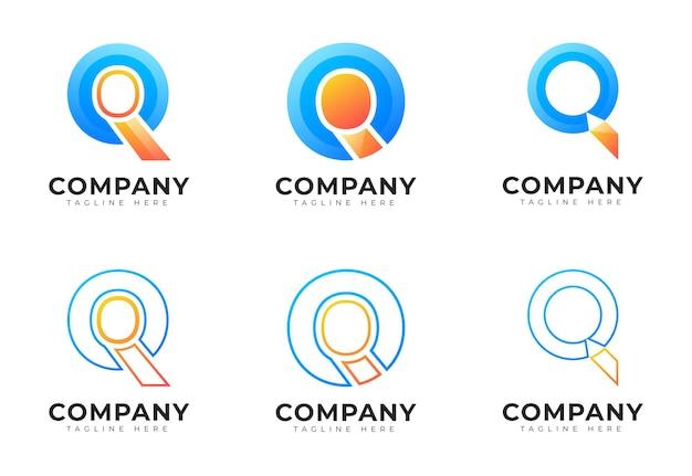 モダンなグラデーションスタイルの頭文字qロゴコレクション