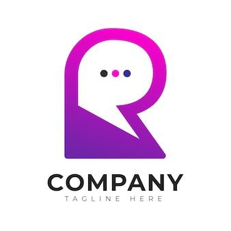현대 그라데이션 스타일 초기 문자 r 다채로운 채팅 로고 디자인 서식 파일
