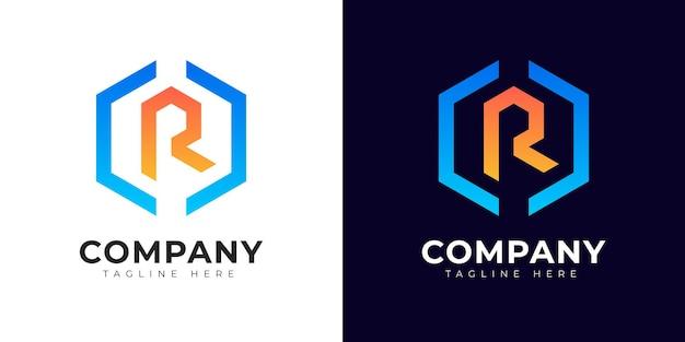 Шаблон дизайна логотипа буквица r в современном стиле градиента