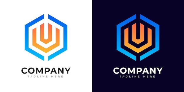 Шаблон дизайна логотипа буквица u в современном градиентном стиле
