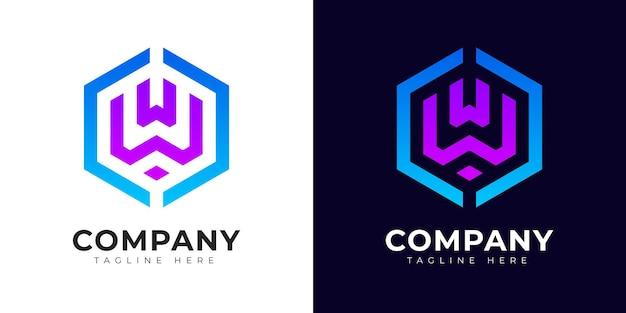 Шаблон дизайна логотипа буквица w в современном стиле градиента