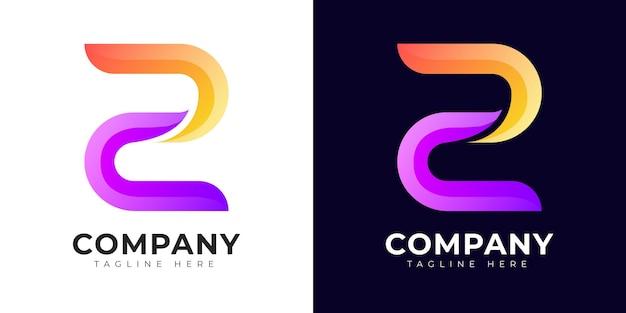 Буквица z логотип в современном стиле градиента