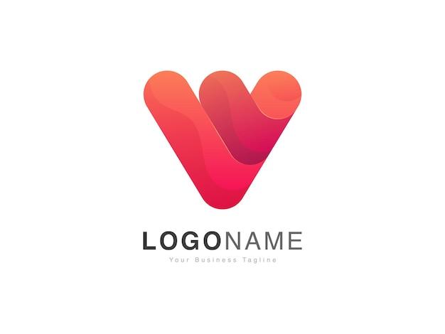 モダンなグラデーションスタイルの最初のv文字のロゴデザイン