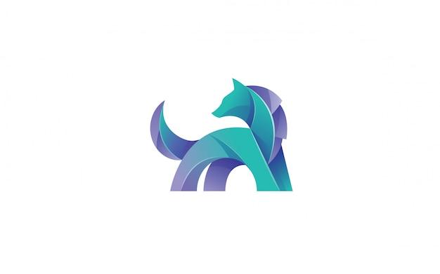 현대 그라데이션 늑대 로고 디자인
