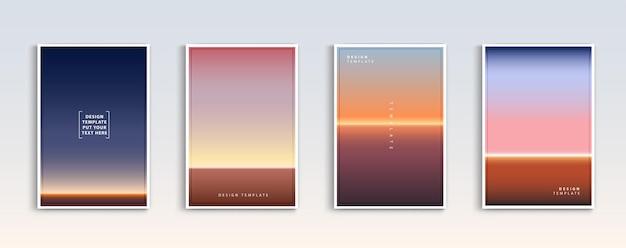 현대 그라디언트 여름 일몰과 일출 바다 배경 벡터 설정 색상 개요