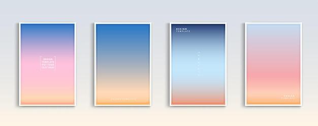 現代のグラデーション夏の日没と日の出の海の背景ベクトルセット色抽象
