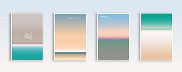 현대 그라디언트 여름 바다와 해변 배경 벡터는 색상 추상을 설정합니다.