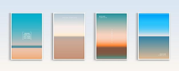 Современные градиенты летом море и пляж фоны вектор набор абстрактных цветов.