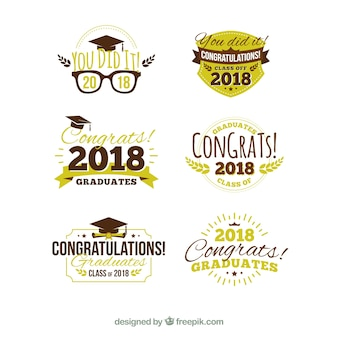 Modern graduation label collection with flat design