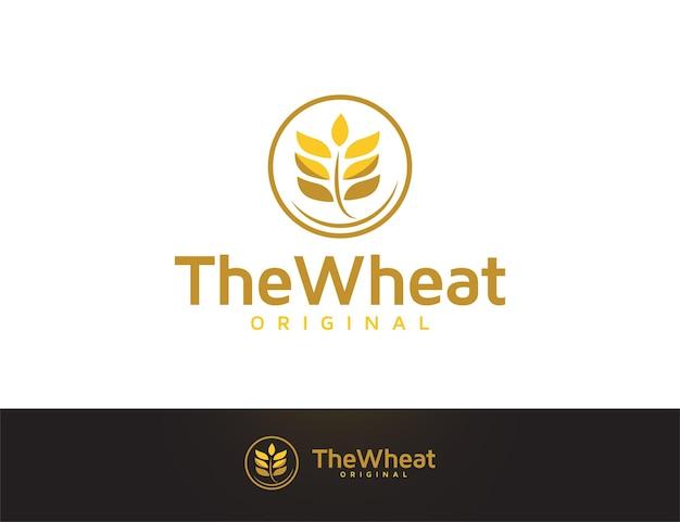 ゴールドカラーのモダンな穀物小麦のロゴデザイン
