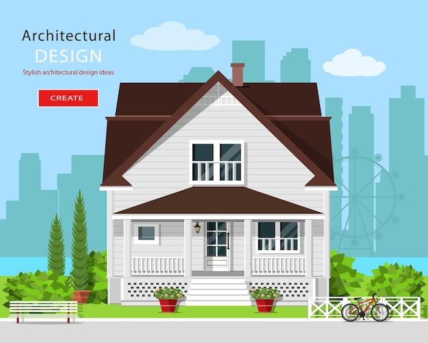 현대 그래픽 건축. 마당, 벤치, 나무, 꽃과 도시 배경으로 다채로운 귀여운 집. 세련된 유럽 집. 삽화.