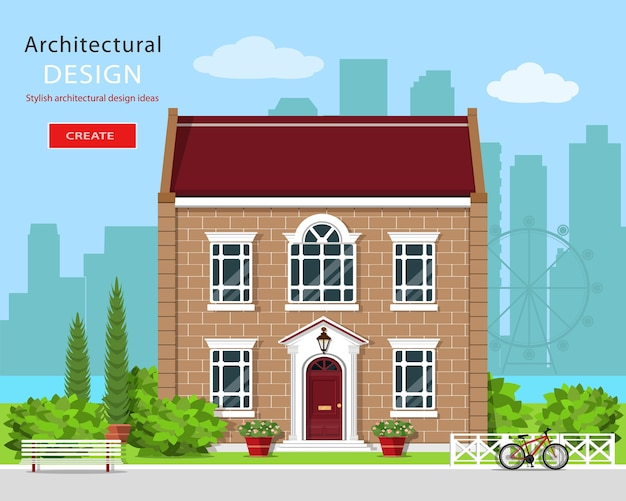 現代のグラフィック建築。かわいいれんが造りの家。カラフルなセット:家、ベンチ、庭、自転車、花、木。図。