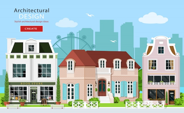 モダンなグラフィック建築デザイン。かわいいヨーロッパの建物:民家、カフェ、店。家のファサード。フラットスタイルのイラスト。