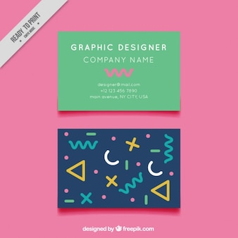 Modern graphic designer card with abstract shapes