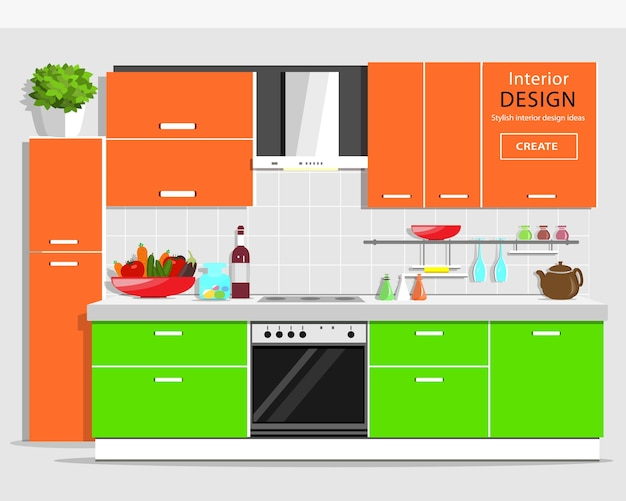 Modern graphic kitchen interior . colorful kitchen with furniture.   kitchen and house appliances.  illustration.