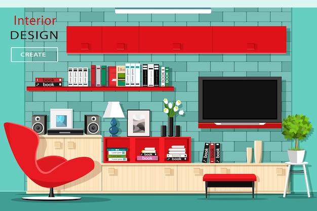 テレビの壁とモダンなグラフィックリビングルームの家具。