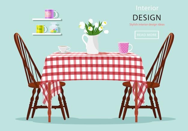 의자, 컵, 꽃과 식탁의 현대 그래픽. 주방과 카페 인테리어. 삽화. 빨간색과 흰색 체크 천으로 된 테이블.
