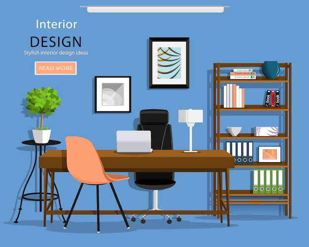 Modern graphic office room interior: desk, chairs, bookcase, laptop, lamp. flat style illustration.