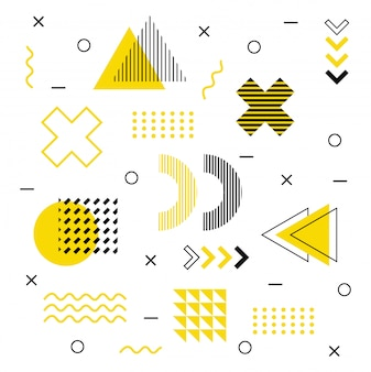 Modern graphic shapes in memphis style