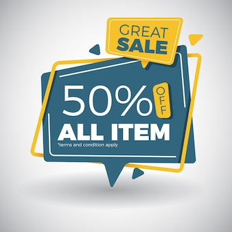 Modern great sale banner design in pop out paper style