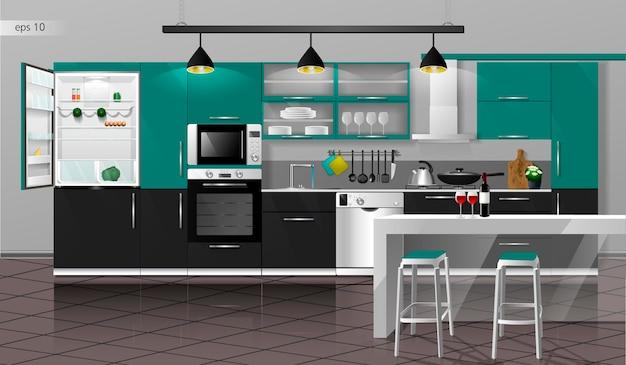 Modern green and black kitchen interior vector illustration household kitchen appliances