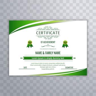 Modern green certificate design