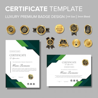 Modern green certificate with badge multipurpose